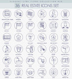 Vector Real Estates outline icon set. Elegant thin line style design. Royalty Free Stock Photography