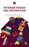 Real estate and interior design vector illustration concept. Poster or banner template stock photo