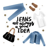 Vector realism illustration with modern jeans denim jacket and hand writing calligraphy. Royalty Free Stock Photos