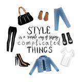 Vector realism illustration with modern jeans denim jacket and hand writing calligraphy. Stock Images