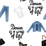 Vector realism pattern with hand drawn realism illustrations modern look jeans denim jacket. Stock Photo