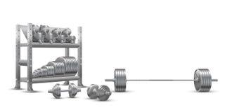 Vector realista de la aptitud en el fondo blanco de un barbell olímpico, de dumbbels de acero y de un estante del almacenamiento  libre illustration