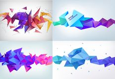 Vector realistic abstract 3d shape. Faceted horizontal background, design elements. Futuristic style banner. Poster royalty free illustration