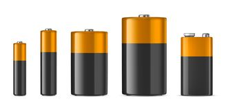 Vector realistic alkaline batteriy icon set. Diffrent size - AAA, AA, C, D, PP3.. Vector realistic alkaline batteriy icon set. Diffrent size - AAA, AA, C, D Stock Photography