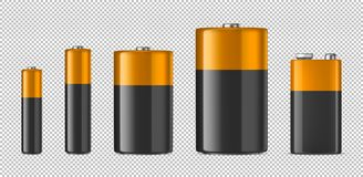 Vector realistic alkaline batteriy icon set. Diffrent size - AAA, AA, C, D, PP3. Design template for branding, mockup. Closeup  on transparent background Royalty Free Stock Photo