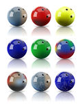 Vector realistic assorted bowling balls. Set of vector realistic assorted bowling balls with mirror reflection Stock Photography