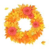 Vector realistic autumn round frame with dahlia flowers on leaves Stock Images