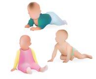 Vector Realistic Babies Boys and Girl Illustration. Stock Photos