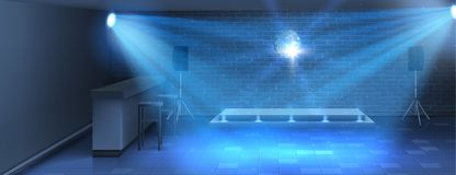Vector interior background with empty dance floor. Vector realistic background, dance floor with empty stage in nightclub. Modern disco dance-hall in bar for stock illustration