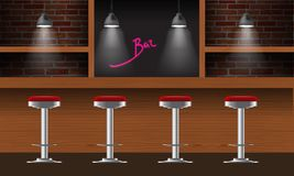 Vector realistic bar, pub interior with brick walls, wooden counter, chairs, shelves and lamps with beam. 3d front view of bar Royalty Free Stock Image