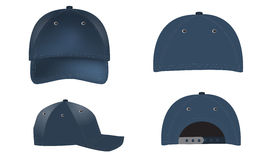Vector realistic Baseball Caps - front, back and side views Royalty Free Stock Image