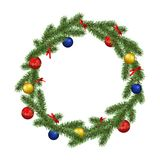 Vector realistic beautiful christmas wreath frame decorated with colorful baubles and ribbons isolated on white background.  vector illustration