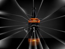 Vector of realistic beautiful whisky bottle on dark background Royalty Free Stock Images