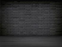 Free Vector Realistic Black Brick Wall Wood Floor Room Royalty Free Stock Photography - 128931737