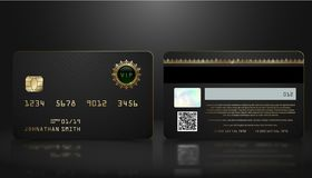 Vector realistic black credit card with abstract geometric background. Golden element credit card dark design template. Bank presentation with hologram, qr royalty free illustration
