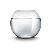 Vector Realistic Black Transparent Shiny Glass Fishbowl Aquarium with Water without Fish on White Background. Vector Realistic Black Transparent Shiny Glass Stock Images