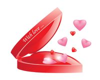 Vector realistic blank bright opened red heart shape box with ca. P isolated on white background.Out of the box are flying realistic 3D red, pink hearts. For Royalty Free Stock Photos