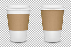 Vector realistic blank paper coffee cup set . Vector EPS10. Royalty Free Stock Photos