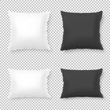 Vector realistic blank white, black square and rectangular pillow or cushion icon set  on transparent background Stock Image
