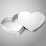 Vector realistic blank white opened heart shape. Realistic blank white opened heart shape box isolated on gray background. For your valentines day, wedding or Royalty Free Stock Photos