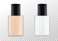 Vector realistic bottles for cosmetic products, perfume, toilet water, foundation.Transparent flacon with a black lid. Realistic bottles for cosmetic products Royalty Free Stock Image