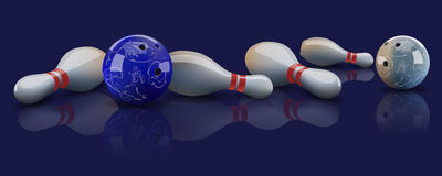 Vector realistic bowling balls and lying pins. Vector realistic bowling balls and lying pins with mirror reflection on dark background Royalty Free Stock Image