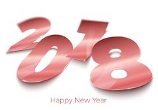 Vector realistic bright foil paper number 2018. Vector realistic bright golden foil paper number 2018 laying on red surface, with shadows, perspective and blur Stock Photos
