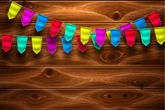 Vector realistic bunting flag on wooden background Royalty Free Stock Photo