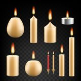 Vector realistic burning candle icon set. Vector set of burning candles. Realistic 3d candle icon set on transparent background Royalty Free Stock Photo
