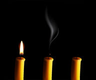Vector realistic candle with fire, extinguished candle with smog and the candle-end isolated on black background. Realistic candle with fire, extinguished Stock Photography