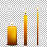Vector realistic candle icon set isolated on transparent background. Design templates. EPS10. Vector realistic candle icon set isolated on transparent Stock Images