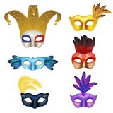 Vector Realistic Carnival Or Masquerade Mask Icon Set Stock Photography