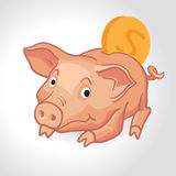 Vector realistic cartoon pig piggy bank with coin Royalty Free Stock Photos