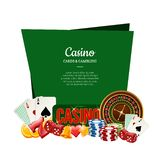 Vector realistic casino gamble with place for text illustration. Vector realistic casino gamble below frame with place for text illustration isolated on white stock illustration