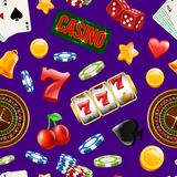 Vector realistic casino gamble pattern or background illustration. Gamble luck and casino pattern, chance and fortune vector illustration