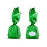 Vector Realistic Chocolate Candy in Green Glossy Wrapper on Background Stock Photo