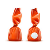 Vector Realistic Chocolate Candy in Orange Glossy Wrapper on Background Royalty Free Stock Image