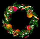 Vector realistic christmas wreath with cones Royalty Free Stock Image