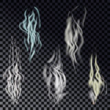 Vector  realistic cigarette smoke waves. Smoke, steam or vapor  set. Vector  realistic cigarette smoke waves on transparent background Royalty Free Stock Photo