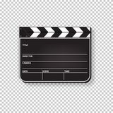 Vector realistic closed clapperboard isolated on transparent background. Stock Photos