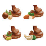 Vector Realistic Collection of Liquid Melted Pouring Chocolate and Nuts. Isolated on White Background. Design Element For Product Stock Image