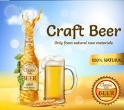 Vector realistic promotion banner for beer brand Royalty Free Stock Photos