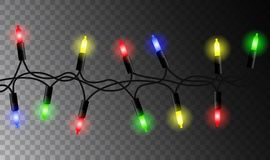 Vector realistic colorful glowing seamless christmas garland iso. Lated on transparent background Royalty Free Stock Photos