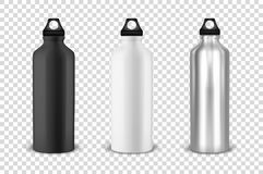 Vector realistic 3d black, white and silver empty glossy metal water bottle with black bung icon set closeup on. Transparency grid background. Design template vector illustration