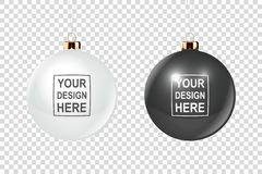 Vector Realistic 3d Christmas Glossy Glass Ball Icon, Mock-up Set Closeup Isolated on Transparency Grid Background vector illustration