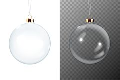 Vector Realistic 3d Christmas Transparent Glossy Glass Ball Icon, Mock-up Set Closeup Isolated. Design Template of Xmas stock illustration