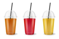 Vector realistic 3d clear plastic disposable transparent cup with pipe set. Fresh tea, orange, apple and berry juice set. Mug of fruit organic shake, cocktail Stock Image
