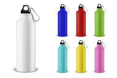 Vector realistic 3d different color empty glossy metal water bottle with black bung icon set closeup on white background. Design template of packaging mockup vector illustration