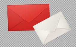 Vector realistic 3d envelope, post letter cover. Vector realistic 3d red, white envelope. Standart empty post letter cover. Business post mail, office documents Stock Photography