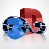 Vector realistic 3d film reel with 3D symbols. Vector realistic 3d film reel. 3D symbols vector illustration